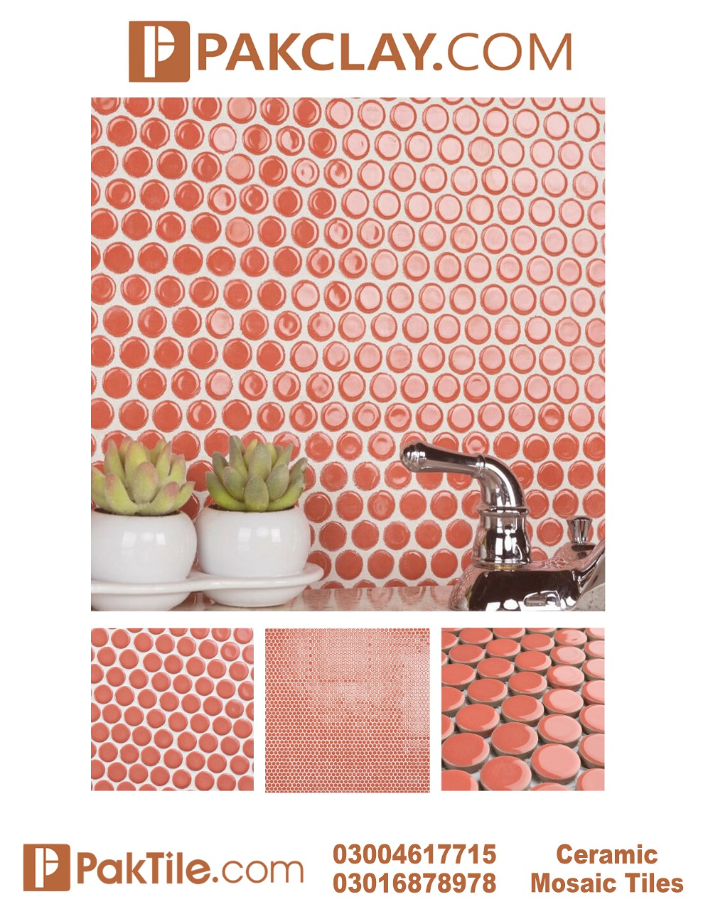 Red Colour Ceramic Mosaic Wall Tiles