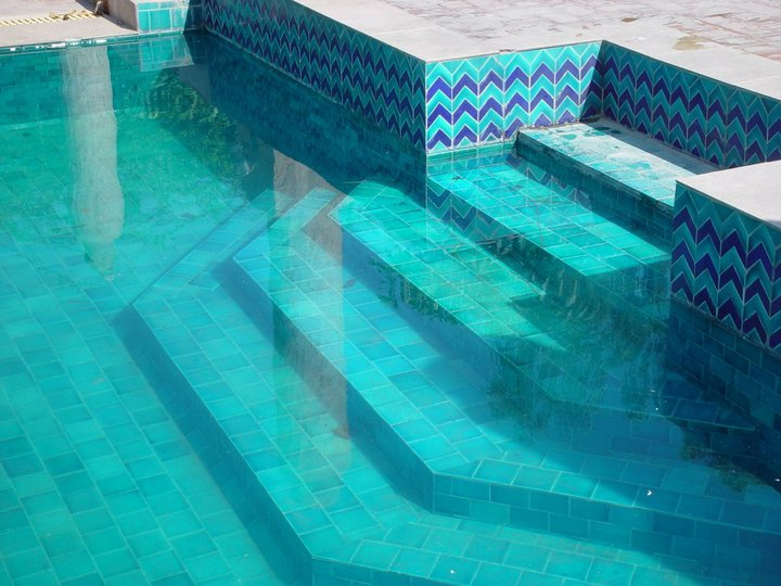 8 Pak Clay Tiles Stair Sky Blue Inside Swimming Pool Ceramic Tiles Price in Pakistan Images.