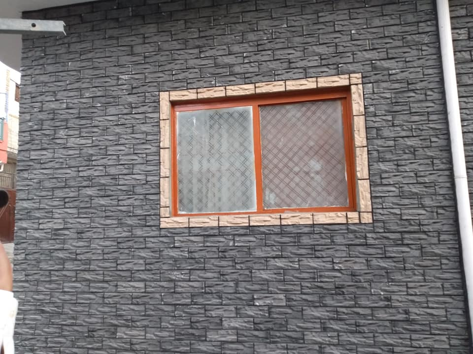 Home Front Elevation Chakwal Stone Black Wall Tiles