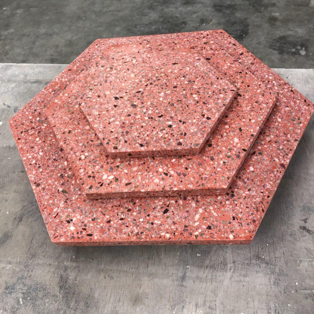 Red colour hexagon terrazzo flooring tiles cost in pakistan