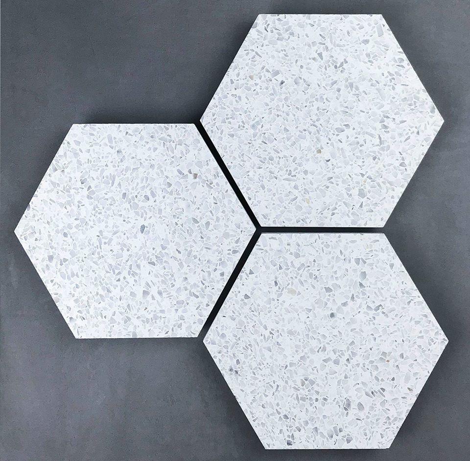 White hexagon terrazzo floor tiles design photos in pakistan