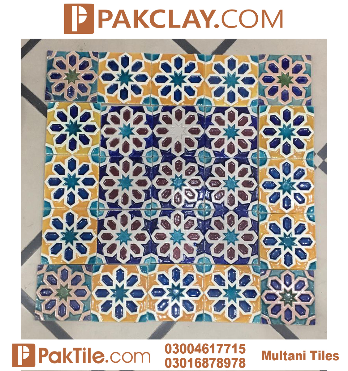 Pak clay multicolors multani tiles and naqashi