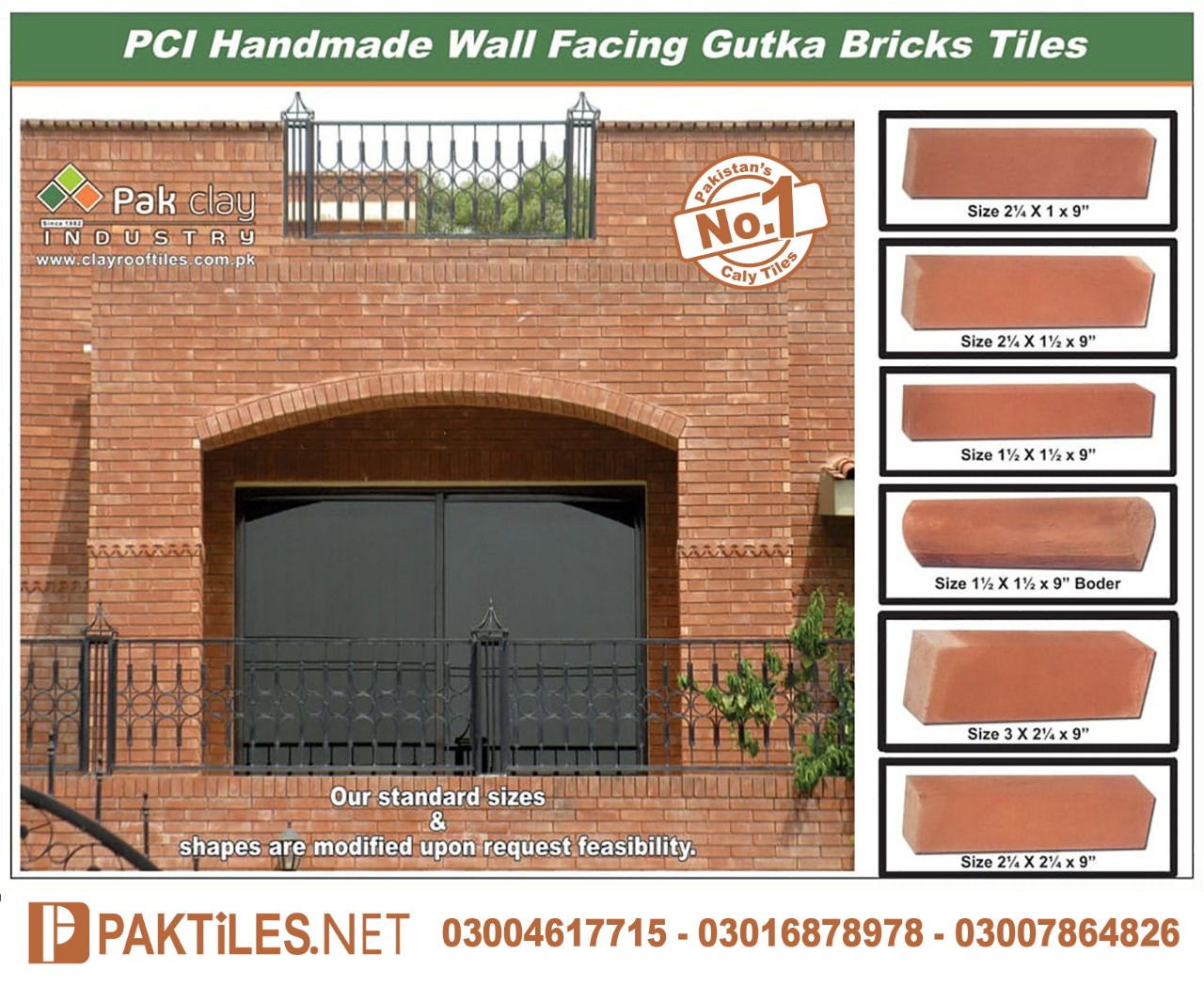Red Gutka Tile Face Brick Size