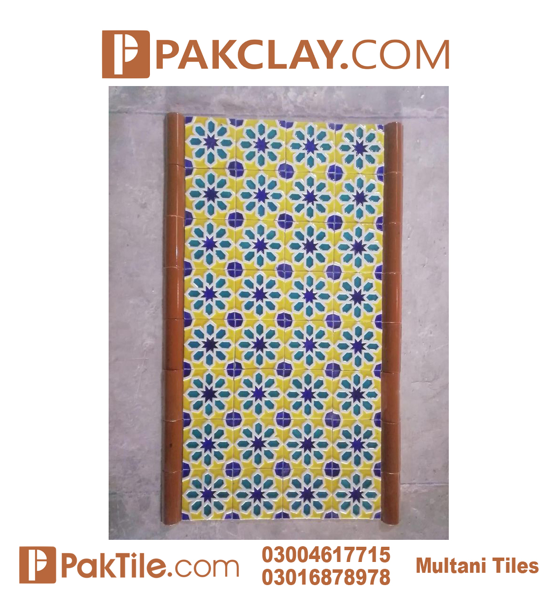 Pak Clay Blue Multani Tiles Islamabad Front Face Tiles