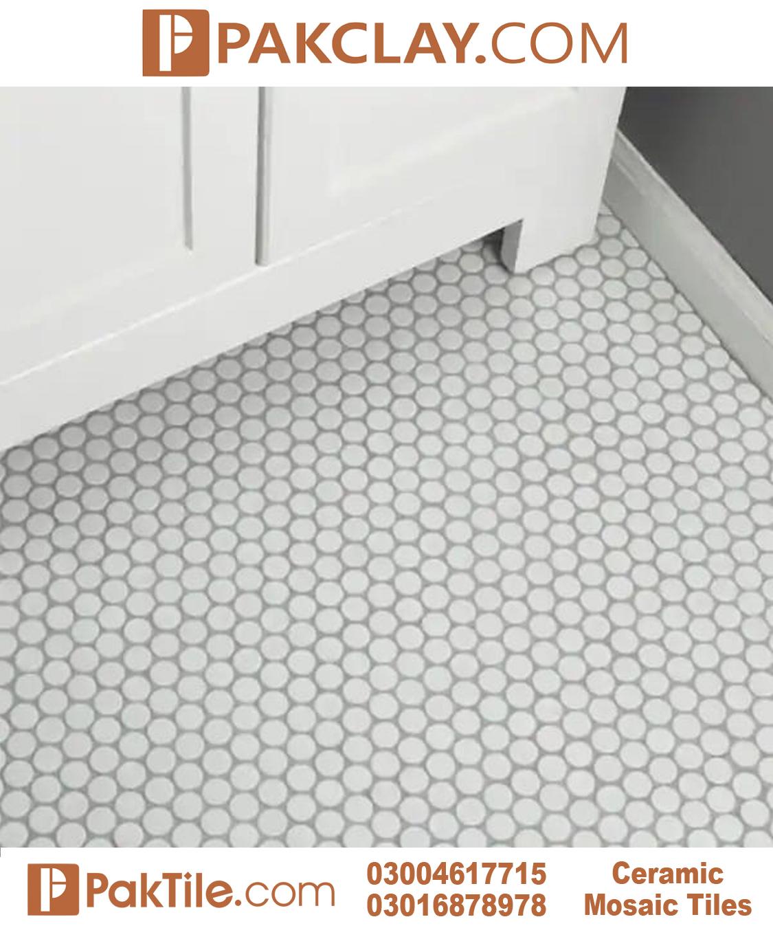 Hexagon Mosaic Floor Tiles Design Color Pure White