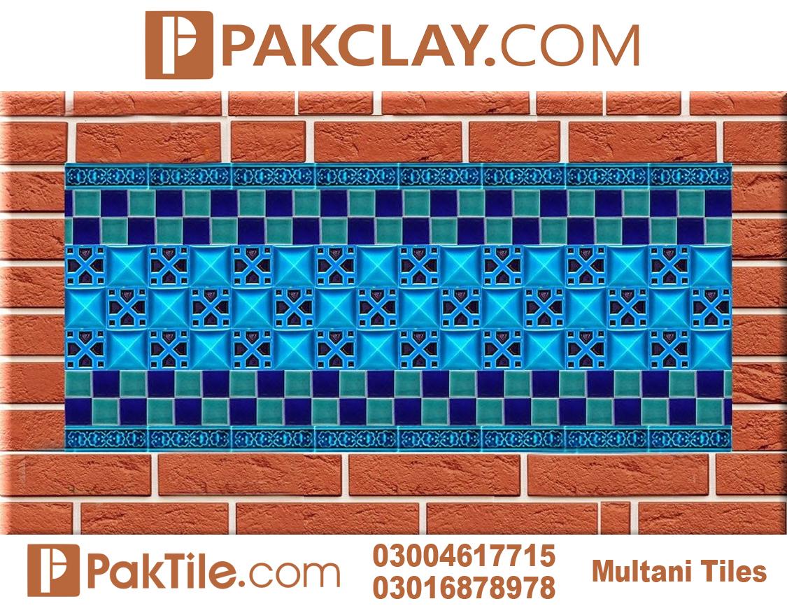 Blue Pak Clay Exterior Wall Multani Tiles Design