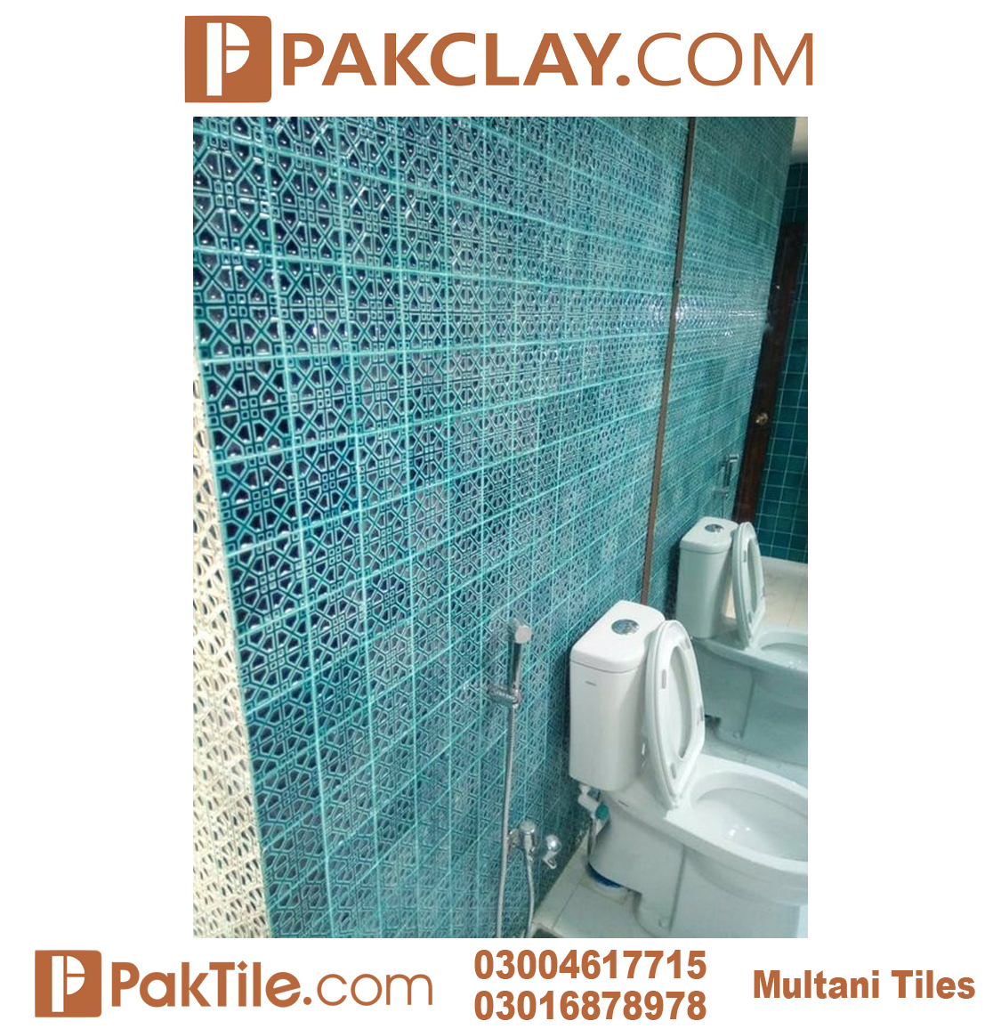 Blue Colors Pak Clay Multani Tiles For Bathroom